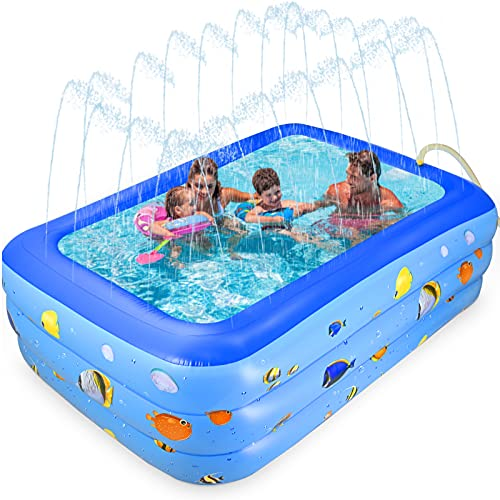 GOLDGE Piscina Inflable Infantil, Diseño de Piscina 2 en 1, Piscina de Agua para niños, Piscina Niños y Familia, Piscina Niños, 210*135*55cm