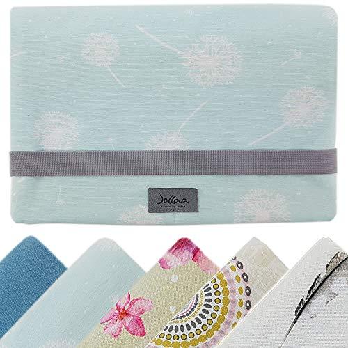 Windeltasche für unterwegs, kleine Wickeltasche für Windeln & Feuchttücher, Windeletui, Wickelmäppchen SmukkeDesign (Pusteblume Weiss & Mint)