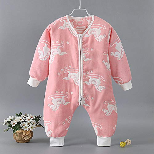 Unisex-baby-inbakerdekens, baby-katoenen gaas-slaapzak, klimpak, gespleten legging-wit Trojaans paard 80 cm, baby-wikkeldeken anti-kick