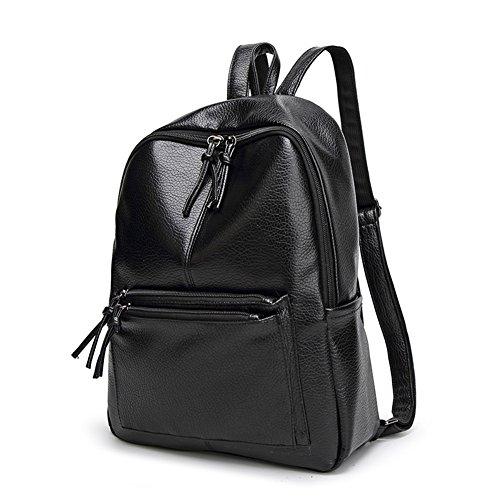 Zicac zaino Unisex Fashion PU viaggio zaino adatto a ragazze per la scuola , borsa a spalla casual sport Escursionismo (nero)