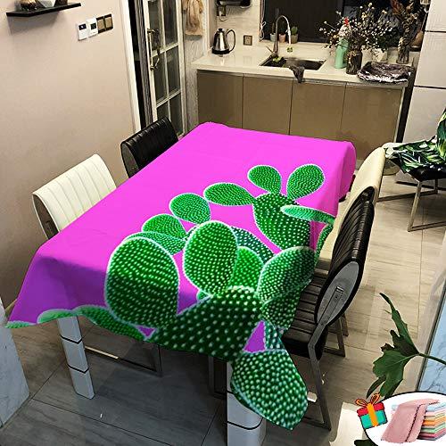 Morbuy Nappe Rectangulaire Imperméable Anti Tâche, Étanche à l'huile Carrée 3D Imprimé Couverture de Table Lavable pour Ménage Cuisine Jardin Exterieur Décoration (Pourpre Cactus,100x140cm)