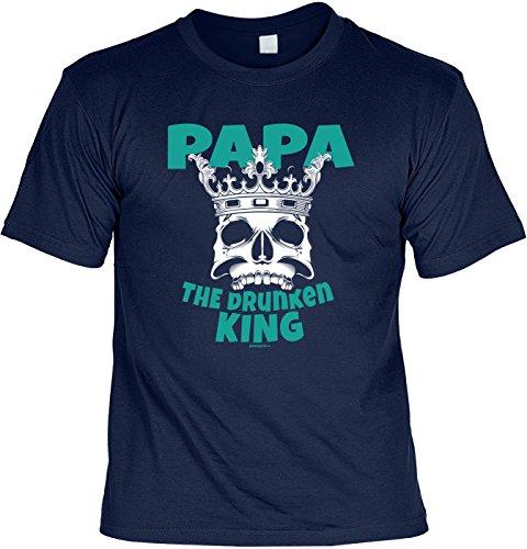T-Shirt zum Vatertag Vatertagsausflug Vatertagstour Papa The Drunken King Männertag Väter auf Tour Bollerwagen Vereinsausflug am Vatertag lustiger Print Bier Trinker Gr: M :