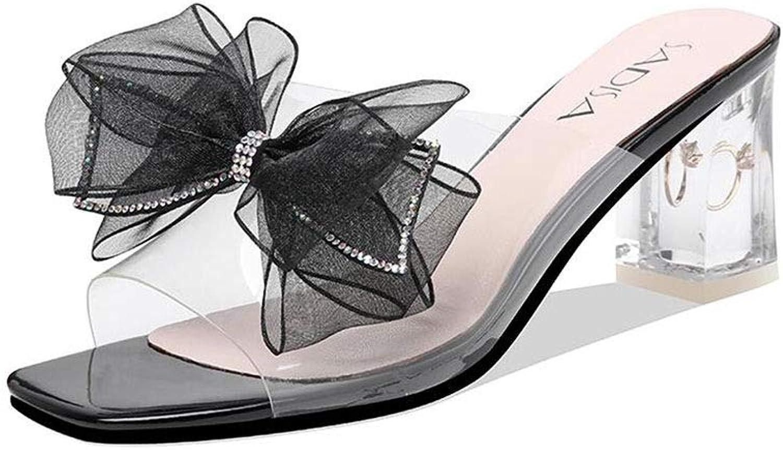 Dtutti Sautope Seali Donna Crystal moda Tacco Alto Arco Decorato Open Toe Seali Tacco Thick (Coloree   nero, Dimensione   EU 35 UK 3.5 CN 35)