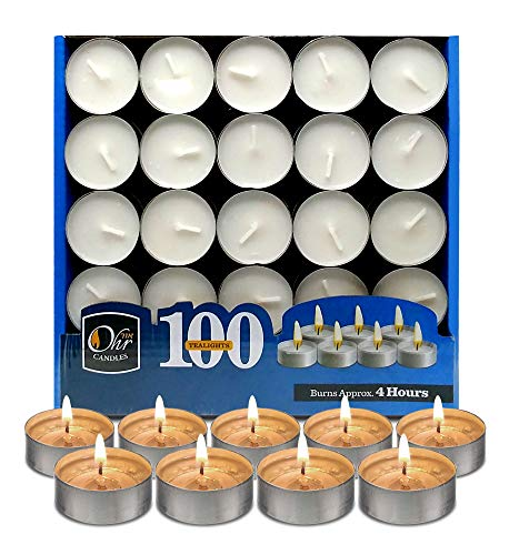 Ohr Tea Light Candles - 100 Bulk Pack - White Unscented Travel, Centerpiece, Decorative Candle - 4 Hour Burn Time.