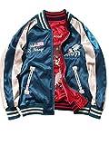 Lisa Pulster スカジャン リバーシブル ブルゾン 2way MA-1 刺繍 男女兼用 M~4XL 6サイズ 大きいサイズ (M)