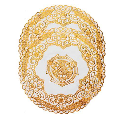 2st Placemats för matbord, Gyllene tryckta Place Mats Table Placemats Tallriksladdare för bröllopsdekoration, 20cm(#4)