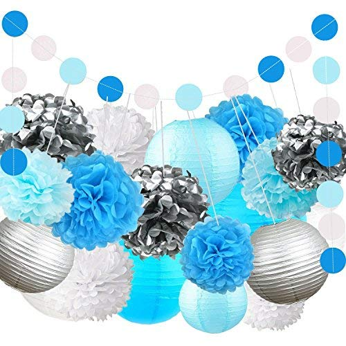Fonder Mols Blue Balloons Garland Arch Kit with Blue White Tissue Paper Flowers 134pcs for Boy Birthday Baby Bridal Shower Gender Reveal Wedding Party Decorations