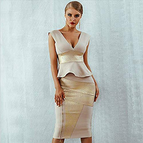 JJHR Kleider Rüschen Promi Party Kleid Sommer Frauen Bodycon Set Ärmellos V-Ausschnitt Reißverschluss Bandage Kleid Frauen, M