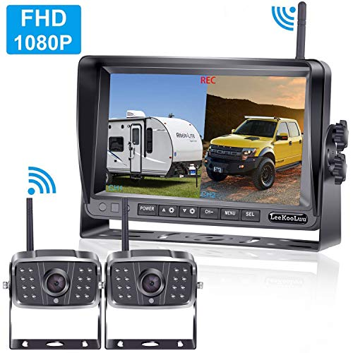 LeeKooLuu 1080P Digital Wireless 2 Backup Cameras Kit RV Observation System 7'' DVR Monitor Split/Quard Screen for Trailers,Trucks,Motorhomes,5th Wheel IP69K Waterproof Super Night Vision