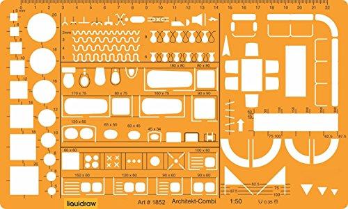Liquidraw - Plantilla de Dibujo a Escala 1,50 para Dibujo técnico, diseño de símbolos de mobiliario de Arquitectura para el Interior de la casa