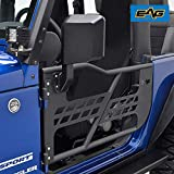 EAG Safari Tubular Door with Side View Mirror Fit for 07-18 Jeep Wrangler JK 2 Door Only