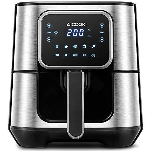 Aicook Heißluftfritteuse, 5.5L XXL Airfryer Heissluftfritteuse mit 8 Programmen, 1700W aus Edelstahl, Ohne Öl, Rezept, LED-Display, Luftfritteuse, Heißluft