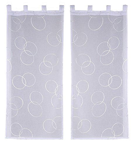 Ciel de France - Coppia di tende in poliestere, 130 x 70 cm, colore: bianco