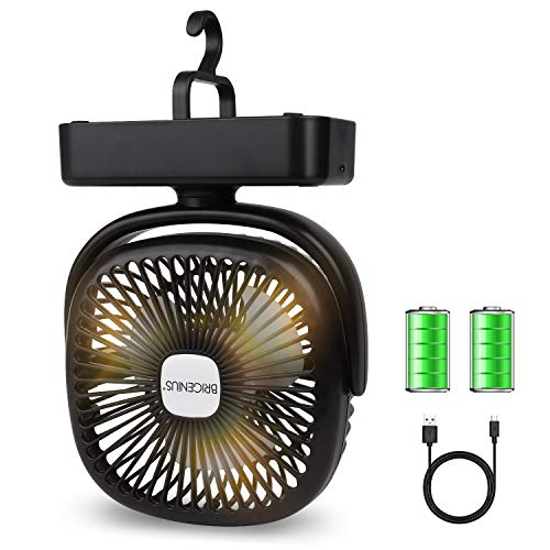 BRIGENIUS Camping Fan LED Lantern, Portable Mini Desk Fan USB Rechargeable 4400mAh Battery Operated Fan with Hook, 3 Speeds Personal Silent Tent Fan for Camping, Home & Office