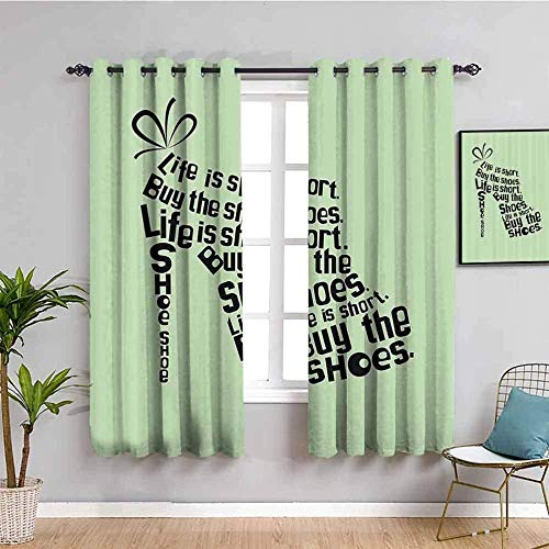 Nileco Cortinas Opacas Termicas - Verde abstracto letras tacones altos - 234x230 cm - Cortinas del Dormitorio de la Habitación de los Niños - 3D Impresión Digital con Ojales Aislamiento Térmico