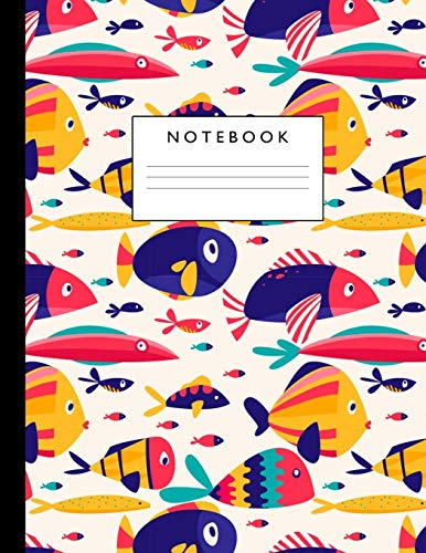 Notebook: Cute Lined Journal Ruled Composition Note Book to Draw and Write In - School Supplies for Elementary, Highschool and College (8.5 x 11 Size 100 Writing Pages) Cover Design 294