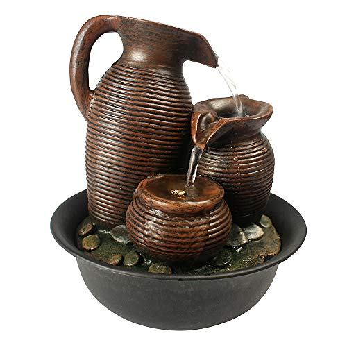 SunJet 3-Tier Jar Desktop Water Fountain Indoor Decoration – 9 inch Tabletop Decorative Waterfall with Led Light- Soothing Relaxation Zen Meditation for Office Home Decor