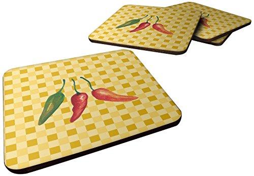 Caroline 's Treasures bb7191fc Cayenne Pfeffer auf Basketweave dekorativer Untersetzer, 3,5, multicolor