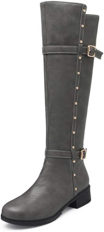 Kvinna Knee höga stövlar Low Heel Buckle Zipper Zipper Zipper Rivet Varm vinterspringaaada Toe Punk Damer Vintage mode Long Boot  rabatt lågt pris