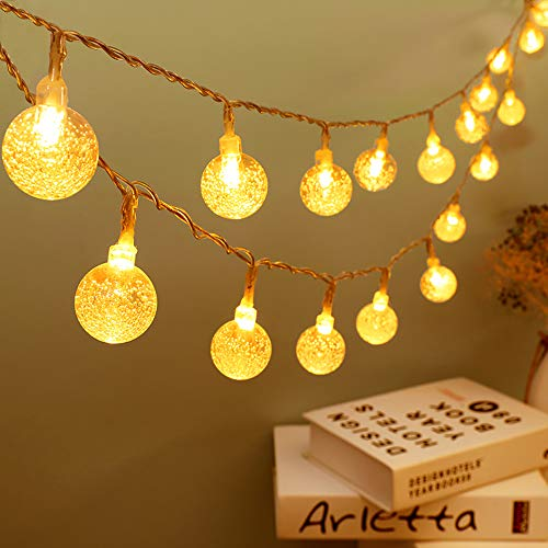 Zorela Globe Fairy Lights, 6M 50 LED Globe String Lights with Remote, USB or Battery Powered, Indoor Outdoor Gazebo Lights for Christmas, Bedroom, Patio, Balcony, Holiday and Wedding - Warm White