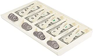 "Cash Tray Drawer Register Insert Tray Plastic 5 Bills 4 Coins Compartments Money Storage Box, 16 * 9.7 * 1.4""(White)"