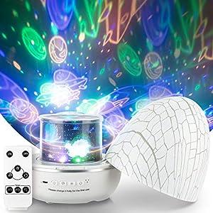 Star Night Light for Kids, Universe Night Light Projection Lamp, Ocean Night Light Projection Lamp, SUPERDANNY 360° Rotating Colorful Adjustable Brightness LED Lamp for Bedroom-6 Sets of Film