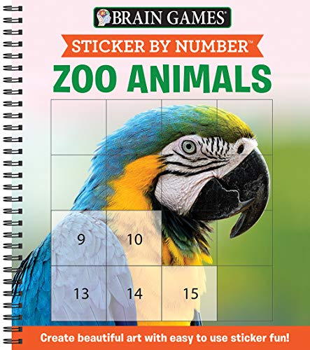 Brain Games - Sticker by Number: Zoo Animals (Square Stickers): Create Beautiful Art With Easy to Use Sticker Fun!