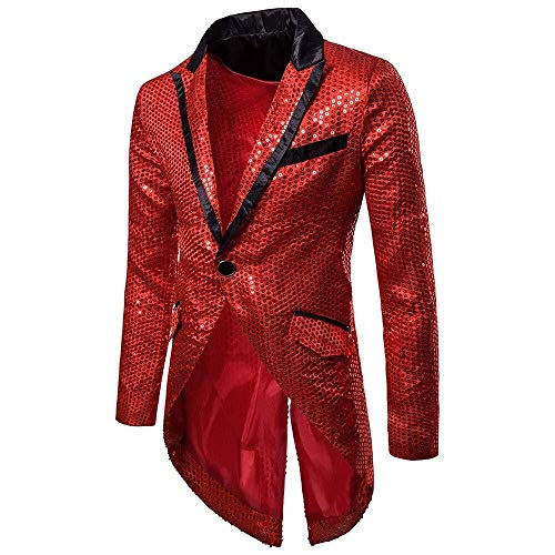 Mens Blazer Suit One Lentejuelas Elegant Leisure Button Modernas Casual Traje De Noche Chaqueta Host Show Party Carnival Costume Coat (Color : Rot, One Size : XXL)