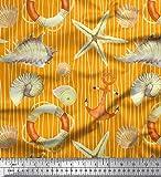 Soimoi Orange Viskose Chiffon Stoff Streifen, Muscheln und