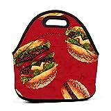 Bolsa de almuerzo portátil de neopreno para hamburguesa roja con correa de cremallera, bolsa para picnic, viajes al aire libre, bolso de mano de moda, para mujeres, hombres, niños y niñas