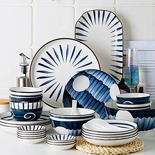 LNHJZ 60 juegos de vajilla de estilo japonés para platos y cuencos, juego de platos de cerámica para 12, vajilla familiar, plato de ensalada/tazón de sopa, 60 piezas