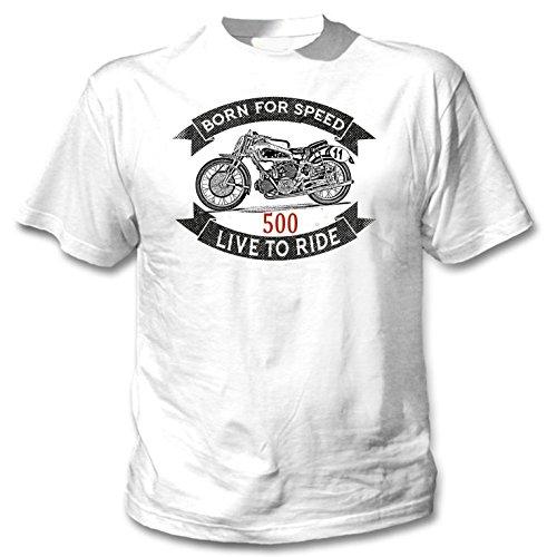 TEESANDENGINES Moto Guzzi 500 BICILINDRICA Camiseta Blanca para Hombre de Algodon Size Large