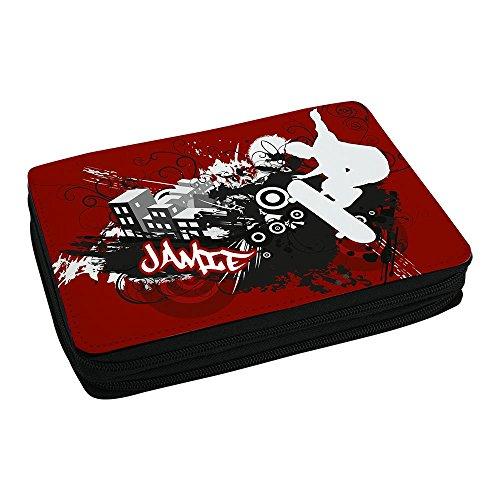Schul-Mäppchen mit Namen Jamie und Skater-Motiv mit Skateboard und cooler Graffiti-Schrift - Federmappe mit Vornamen - inkl. Stifte, Lineal, Radierer, Spitzer