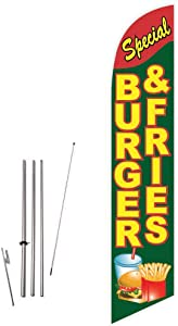 Cobb Promo Burger & Fries Special (Green) Feather Flag with Complete 15ft Pole kit and Ground Spike