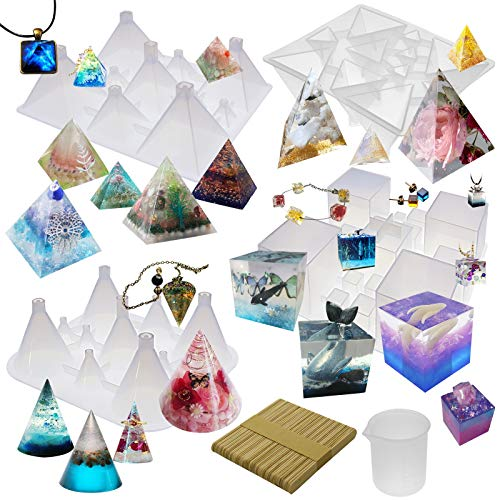 Funshowcase Pyramid Cone Cube Geometric Resin Silicone Molds Pack of 4 Trays, 100ml-Rubber-Measuring-Cup, 50-Wood-Stir-Sticks