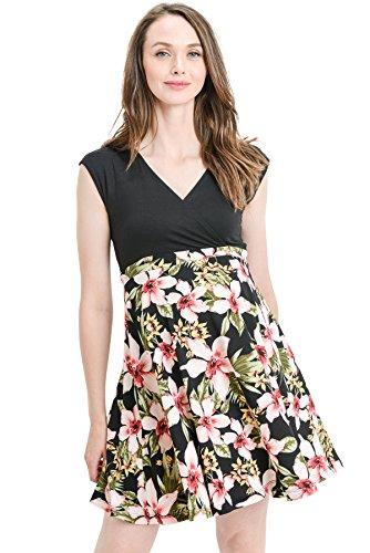 Product Image of the HELLO MIZ Women's Floral Maternity Mini Dress (Small, Black/Hot Pink)