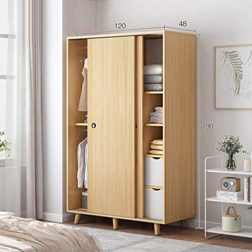 ZKHD Small Apartment Bedroom Clothes Storage Cabinet, Simple Wooden Sliding Door Wardrobe, Rental Room Wardrobe, Mobile Door, Multiple Storage,120cm