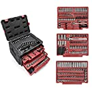 """WORKPRO 450-Piece Drive Socket Set 1/2"""" 1/4"""" 3/8"""", CR-V Metric and Imperial Sockets with Quick-Release Ratchet Wrench, Spanners, Bits Set, Mechanics Tool Set for Car Repair"""