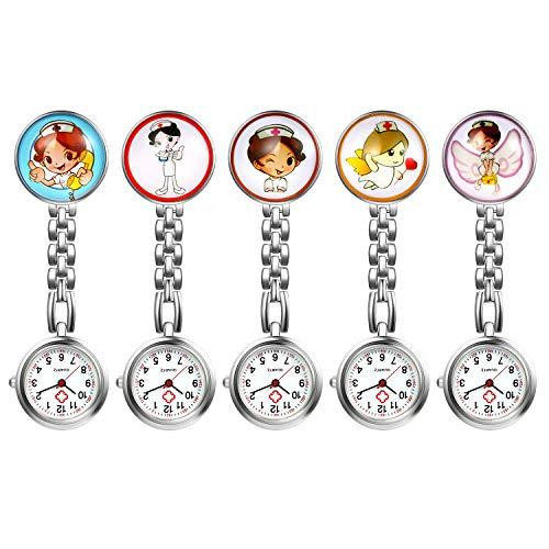 LANCARDO Uhren 5pcs Set, Krankenschwester Armbanduhr FOB-Uhr Damen Taschenuhr Analog Quarzuhr aus Legierung LCD037P014