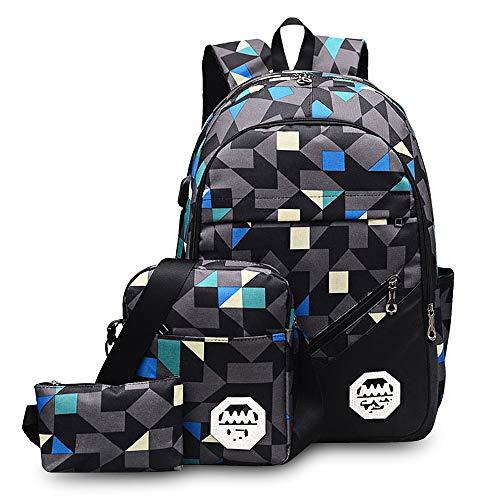 Blu Impermeabile Zaino Scuola Zaino da Viaggio Luminoso Zaino Sdoppiabile Sportivo Grande Casual Escursione con 2 Sacchetti per Uomo Materna Unisex