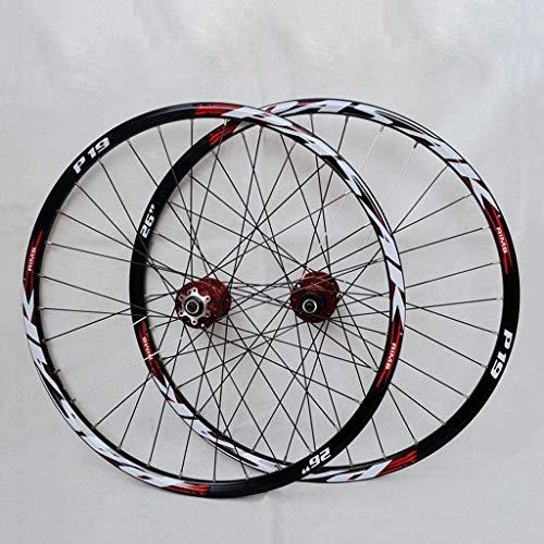 Juego de ruedas de bicicleta de montaña 32 Acero  Agujeros 26 '/27.5' / 29 'Juego de ruedas de bicicleta Conjunto de Rodamiento Descenso Freno de Cassette Vuelo Red Red Tambor + Signo rojo (Rueda de