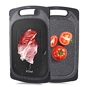 X-Chef Defrosting Tray 2 in 1 Meat Thawing Cutting Board Fast Thawing Plate and Chopping Board for Kitchen Frozen Food 2 Side Use Meat Defroster Large 15.9x9.5inch Black