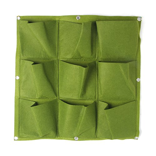 GROOMY Pots de Fleurs, Outdoor 9 Pocket Indoor Balcon Herb Vertical Garden Wall Tenture Planter Bag-Green
