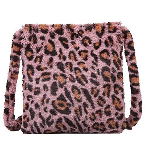 ROSELI Leoparden Muster PlüSch Damen Umh?Nge Tasche Mode Retro Warme Hand Tasche Gro?E Kapazit?T L?Ssige Umh?Nge Tasche Rosa