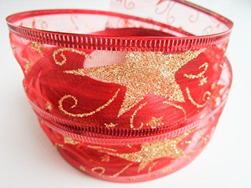 CaPiSo 20m Weihnachtsband 40mm Drahtverstärkung Schleifenband Geschenkband mit Sternen Glitzer Weihnachten (Große Sterne Rot)