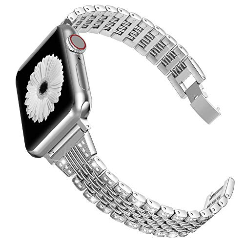 Wearlizer für Apple Watch Armband 38mm (40mm Series 5 4), Metall Strass Watch Ersatzband für iWatch/Apple Watch Serie 4 Serie 3 Serie 2 Serie 1, Silber 38mm 40mm