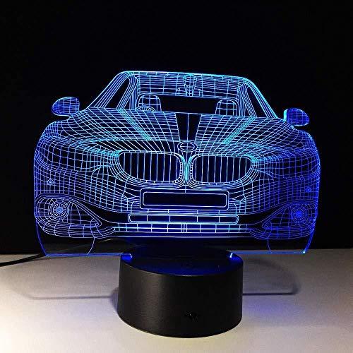 Luz nocturna 3D Coche de carreras Coupe Puertas dobles Coche deportivo Ferrari Lámpara de ilusión visual 3D Luz nocturna para niños Estilo de coche Lámpara-Color Changeable_Color Changeable_To