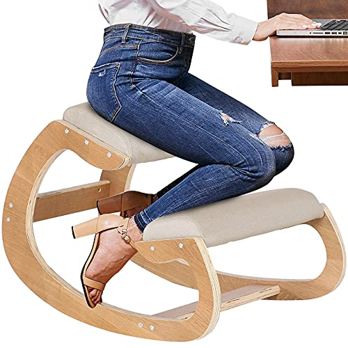 BotaBay Ergonomic Kneeling Chair for Upright Posture, Rocking Chair Kneel Stool for Home, Office, Reliving Back Neck Pain, Good Posture Correction, Wood & Linen Cushion Beige