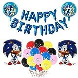 Decoracion Cumpleaños Sonic the Hedgehog Globos de Sonic the Hedgehog Globos de Látex Sónicos Feliz Cumpleaños del Pancarta de Sonic