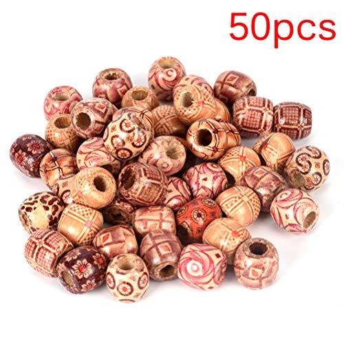 FADACAI Lot de 50 Perles en Bois pour tressage et Extensions de Cheveux avec Grand Trou